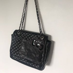 Quilted black hello kitty bag